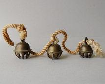 Antique brass elephant bells Set of 3 claw bells on cord Brass claw bell Collectible elephant bells