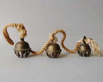 Antique brass elephant bells Set of 3 clawed bells on cord Brass claw bell Collectible elephant bells