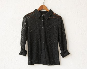 Lace Blouse Black Perforated Sheer