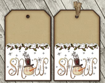 Printable Christmas Snowman Tags - Digital Gift Tags - Primitive Snowmen
