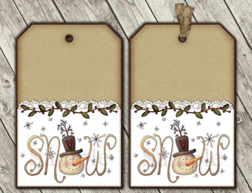 Printable Christmas Snowman Tags Digital by CaptivatingCrafts4U