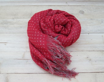 Red polka dot linen scarf with fringe, Long scarf, Summer linen scarf, Scarves, Women scarf, Men scarf