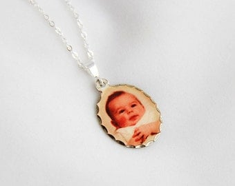 Sterling Silver Oval Photo Necklace ... Small