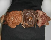 Three Flower Leather Belt