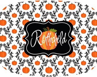 Personalized Halloween Platter, Monogrammed Melamine Serving Tray, Pumpkin Fall Decor, Melamine Dinnerware