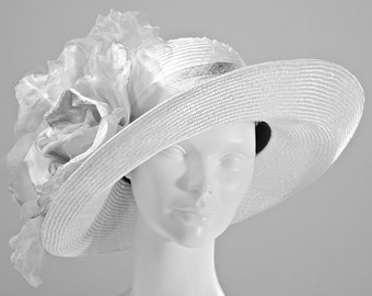 Silver Gray Women's WIDE BRIM  Straw Hat, Kentucky Derby Hat, Wedding Hat, Easter Hat