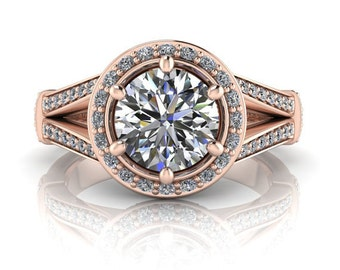 Split shank engagement ring diamond halo setting round center forever brilliant moissanite ring rose gold palladium or platinum