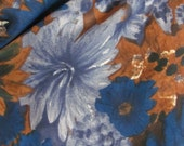 """Small Blue Brown Floral Soft Rayon Scarf 22"""" Square"""