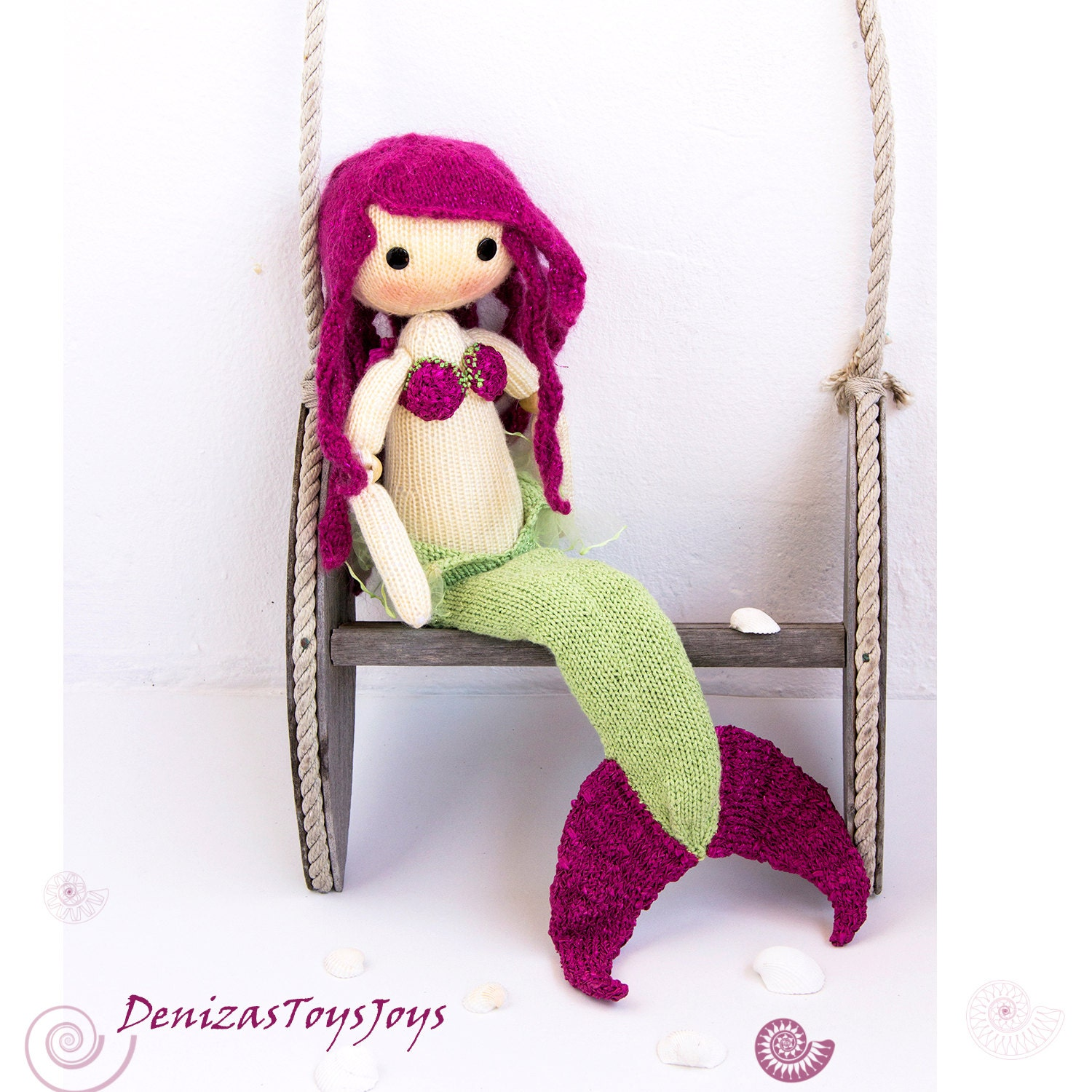 Knitting Toys In The Round : Mermaid doll pdf knitting pattern knitted in the round