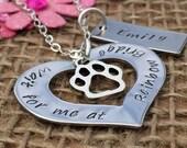 Personalised Rainbow Bridge Necklace, Personalised Gift, Loss of a Pet, Pet Memorial, Death of a Pet, Dog Remembrance, Cat Memorial, Memory