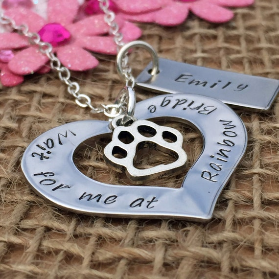 Personalised rainbow bridge necklace personalised gift loss of a pet