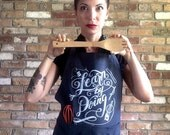 Full Apron: Learn By Doing, Cotton Pocket Apron, Hand Illustrated,  Charcoal Gray Black Cotton, Chalk Art Chalkboard Art DIY Gift