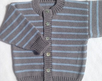 Baby Knitted Cardigan/ Boys Cardigan/Baby knits/ Grey & Blue Cardigan/ Baby Knitwear/ Knitted Jumper/Baby Knitted Clothes/Merino Wool Jumper
