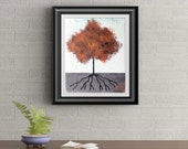 Orange Tuft Tree Signed Art Print of Signature Original By Rafi Perez