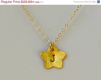 ON SALE Personalized 24 K Vermeil Gold Star Necklace - Custom handstamped initial monogram charm pendant