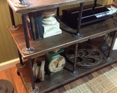 """Industrial Iron and Wood TV Stand for 40"""" to 46"""" TVs"""