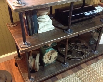 """Industrial TV Stand, Iron and Wood, for 40"""" to 46"""" TVs"""