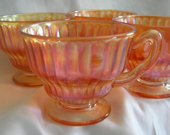 Carnival Glass Cups | Iridescent Marigold | Set of 4 | Vintage Mid Century