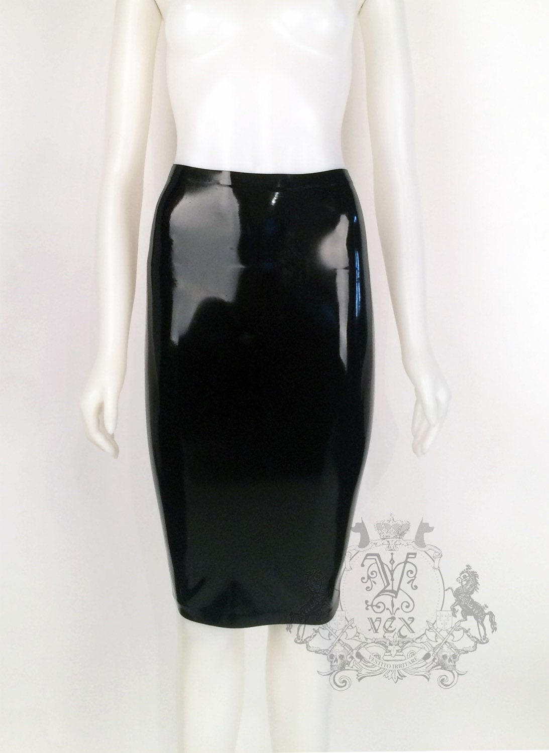 rubber pencil skirt by vex