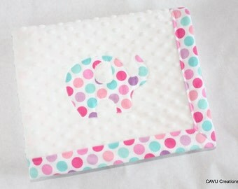 """Polka Dot Elephant Baby Blanket with in Pink, Purple, Aqua, and White - 28x36"""" Handmade Baby Girl Blanket, White Minky  READY TO SHIP!"""