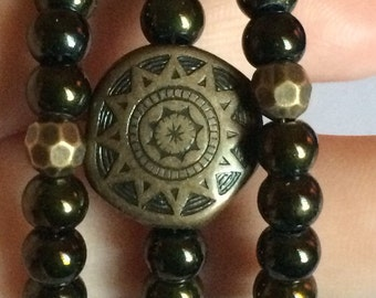 "Gorgeous ""Tribal Delight"" Beaded Memory Wire Bracelet"