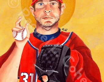 Washington Nationals Max Scherzer MLB Baseball Print of Original Illustration