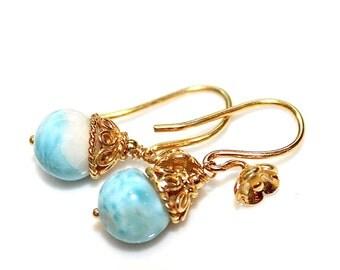 Small Earrings Larimar Earring Caribbean Larimar Jewelry Beach Earring Beach Jewelry Caribbean Jewelry Blue Earring Ocean Earrings FizzCandy