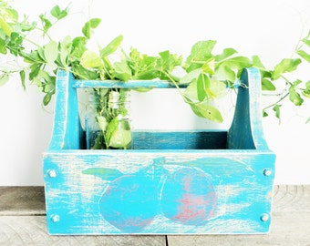 Vintage Aqua Caddy - Upcycled Rustic Shabby - Organization - Fruit Box