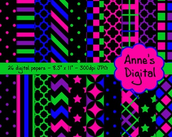"Neon and Black Digital Papers - Matching Solids Included - 26 Papers - 8.5"" x 11"" - Instant Download - Commercial Use (188)"