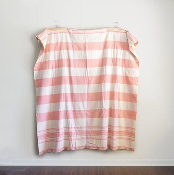 Vintage Pink Stripe Picnic Blanket