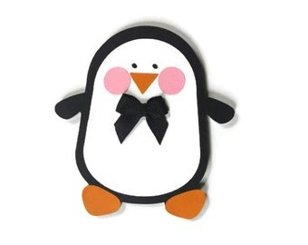 Penguin Boy Christmas Card - Penguin Shaped Card