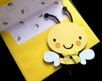 Bumble Bee Card - Yellow Bumble Bee Card - Insect Card - Insect Die Cuts - Bee Die Cut - Paper Bumble Bee - Blank Card