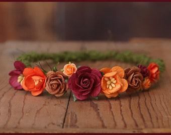 Autumn Fall Newborn Halo * Moss Yarn Flower Halo * Photo Prop * Baby Girl Headband * Adjustable * Burgundy, orange, brown