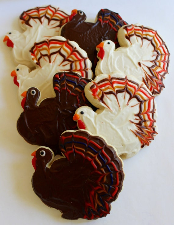 Turkey / Thanksgiving Sugar Cookies with Buttercream Frosting