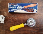 Vintage Yellow Pie or Pastry Crimper Trimmer and Decorator in Original Box