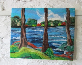 abstract trees, textile art, felt art, 20x16 inches