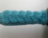 Cast Iron Skillet Handle Cover, Open Ended, Wool Knit in Aqua Blue