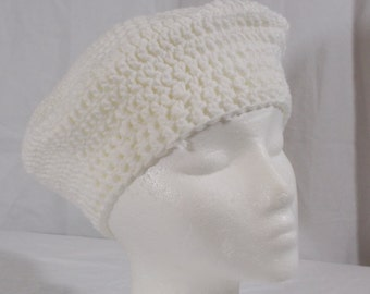 Off White Crochet Beret