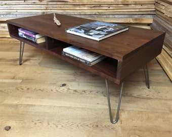 Boxer mid century modern coffee table with storage featuring black walnut & hairpin legs.