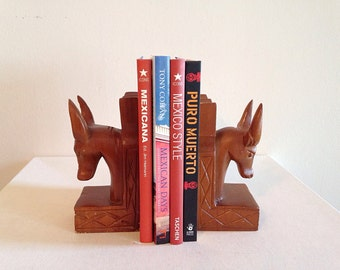 Vintage Mid Century Kitsch Wood Mexican Bull Bookends