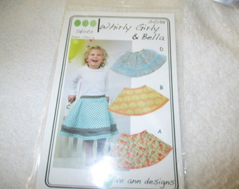 Sewing Pattern for a girl's skirt called Whirly Girl and Hella in sizes 1-6 by Olive Ann Designs