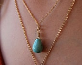 Vacation Movie Christina Applegate Authentic Gold Filled Turquoise Tear Drop Necklace 18""