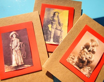 3 Cards for 5 Dollars: Handmade Rustic Dimensional Vintage-Style Cowgirl Greeting Cards with Envelopes  (Set C)
