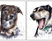 Set of 2: 8x10 Original Custom Watercolour Pet Portraits