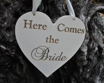 Here Comes The Bride And Just Married  - Double Sided Sign -Heart Shaped Wedding Sign 12 inch, Handmade & Laser Etched