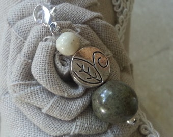 Memorial Bead Charm - Custom Keepsake Stoneware Pottery Pet Cremains Jewelry - GREENS LEAVES Charm