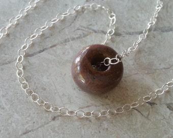 Memorial Bead Necklace - Custom Keepsake Stoneware Pottery Pet Cremains Pendant - Choose Size and Color - SINGLE PONY BEAD