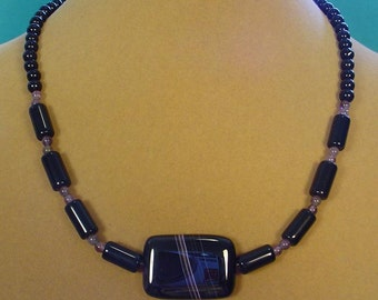 "Very Unusual 17"" Black and Purple Striped Agate Focak Necklace - N434"