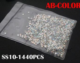 50%OFF Glass SS10/1440PCS AB Color flatback Crystal Rhinestone