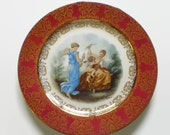 "Homer Laughlin M. Langbroek Plate, Cherub and Ladies, 10"" Red Plate with Gold Gilt Trim, Cupid Picture, Victorian Design"